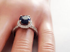 3.25Ct Genuine Sapphire And Diamond Ring In Solid 14K White Gold Made In USA
