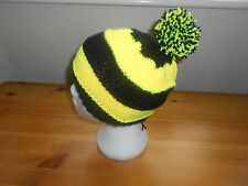 Knitted bobble hat festival,wasps rugby, Burton Albian Football colours.