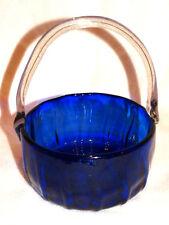 Antique Primitive Hand Blown Cobalt Blue Glass Basket  w/ Clear Applied Handle