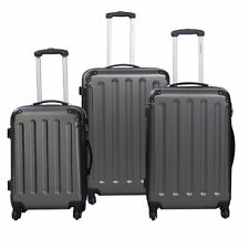New 3 Pcs Luggage Travel Set Bag ABS+PC Trolley Suitcase Gray