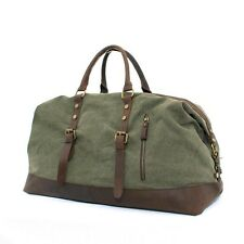 "22"" Large Men Canvas Leather Weekender bag Retro Overnight Gym Duffle Travel Bag"