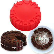 "7"" Happy Birthday Cake Pan Chocolate Pizza Gelatinas Baking Tray Silicone Mould"