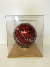 Soccer ball display case acrylic solid hardwood oak base FIFA