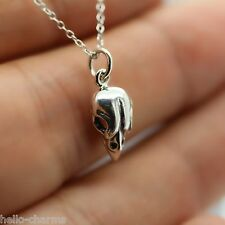 SPARROW SKULL NECKLACE - 925 Sterling Silver - Bird Jewelry Bird Charm Necklace