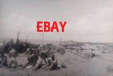 """WWII RARE PHOTO NEGATIVE US ARMY 34TH INF """"RED BULL"""" IN ITALY SOLDIER AT CAMP"""