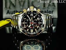 Invicta Men's Specialty Chronograph Black Dial Two Tone 18K Gold Plated SS Watch