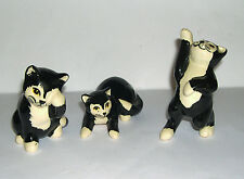 Black & White Studio Pottery Cats (Decorative Hand Painted Set of Three Cats)