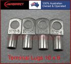 CABLE LUGS. TINNED COPPER BATTERY LUGS 10MM2 X 6MM RING, 10 PCS FREE POSTAGE