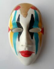 Vintage 80s Hand Painted Face Mask Brooch