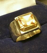 Vintage Art-Deco Style 925 Sterling Silver Large 5ct Citrine Ring Size N1/2