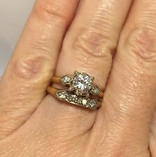 $3k GIA 14k Yellow Gold .84 Ct Diamond SI VS Antique Engagement Ring Set 6 1/4