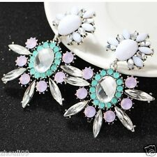 2015 Newest Design Lady Statement clear crystal long Ear Studs earrings Hot e547