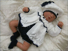 Baby Knitting Pattern DK 23 TO KNIT Girls Matinee Set Hat Shoes Reborn Dolls
