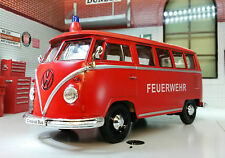 Vw T1 Pantalla Dividida Bus Fire Engine 1962 Welly Feuerwehr 1:24 Diecast Escala Modelo