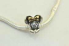 """Silver Plated """"MINNIE MOUSE"""" Threaded CHARM Bead European Bracelet Necklace"""