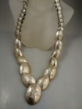 Pretty vintage Native American Navajo DSC sterling stamp beads necklace