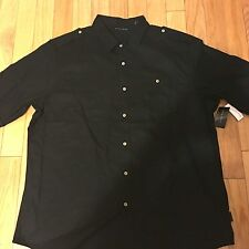 SEAN JOHN  Button Down Black Short Sleeve Shirt Size  L
