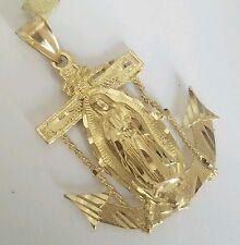 Religous 14k Yellow Gold Virgin Mary Anchor Pendant 1.75 inch long
