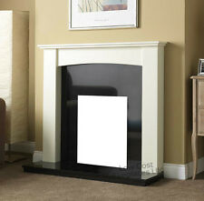 GAS ELECTRIC WHITE BLACK GRANITE MARBLE ARCHED SURROUND FIRE FIREPLACE SUITE