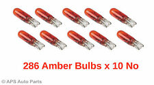 Pack Of 10 No Miniature Capless Dashboard Dash Light Bulbs 286A Amber 12V 1.2w