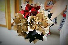 Vintage look book page paper flower bouquets for weddings birthdays or gifts