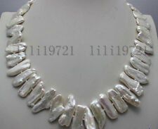 "7x16mm white freshwater Cultured pearl necklace 17"" AAA"