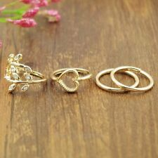4PCS/Set Urban Rhinestone Rings Crystal Leaf Knuckle Band Mid Finger Tip Ring LY