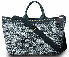 Made in Italy Designer Damen XL Shopper Schultertasche Boucle Strick Leder Bunt