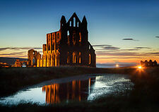 A5 Greeting Card with Envelope. Whitby Abby at Night. WH09