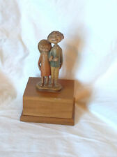 Rare Vintage Anri Music Box Happy Children Boy Girl Hand Made Wooden