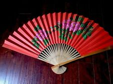 """Original Wall Fan Chinese water color Hand painted  Large Bamboo frame 48"""" x 26"""""""