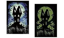 HAPPY HALLOWEEN POSTER HAUNTED HOUSE - LEUCHTET IM DUNKELN GLOWS IN DARK
