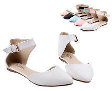 White nn Ankle Strappy Point Toe Casual Women Ballet Flats Dress Shoes Size 6
