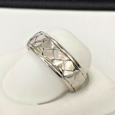 14K White Gold 6.85mm comfort fit hand woven band  Band Size 8 1/4
