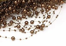 1.3M/Article coffee 8mm-3mm Pearl Bead Garland Christmas Party Wedding Decor