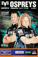 Ospreys v Munster Pro12 League 3 Dec 2011 Liberty Stadium RUGBY PROGRAMME