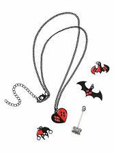 DC Comics Harley Quinn Interchangeable 5 Charm Necklace Heart Mallet Logo Hat