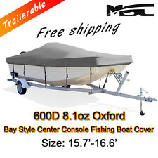 MSC  15.7'-16.6' 600D Marine Grade Styled to fit Centre Console Boat Cover Grey