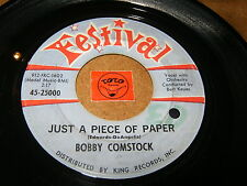 BOBBY COMSTOCK - JUST A PIECE OF PAPER - THE GARDEN / LISTEN - TEEN SOUL POPCORN