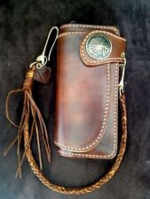 Handmade Genuine Leather Biker Men's Long Wallet with Braided leather brass