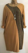 New Italian Lagenlook Soft Mustard pattern Jumper Dress uk 10 12 14