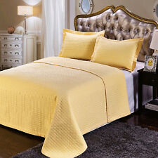 Luxury Checkered Quilted Wrinkle Free Coverlet, Bedspread Set, Reversible Quilt