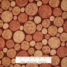 Country Rustic Fabric - Meadow Rain Tree Rings on Brown - Hoffman YARD