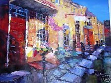 Paris Street Building Stores Abstract  20 x 24 Hand Painted Oil Painting Canvas