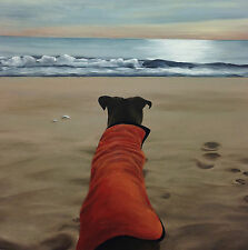 MATTED FINE ART PRINT of Oil Painting Realism Rescue Dog Beach Sunset Landscape