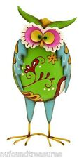 Standing Owl Colorful Yard Lawn Art Deco Metal with Multi Color New in Box