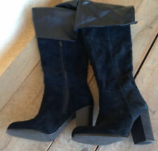 "SE Boutique Over the Knee Black Suede Pirate Boots 8 Womens Zip Inside 3.5"" Heel"