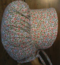 NEW HANDMADE CHILDS PRAIRIE - PIONEER SUN BONNET ~pink & blue floral on white