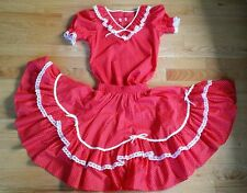 Vintage Partners Please Square Dance Outfit Red & White Dots Small Skirt Top Set