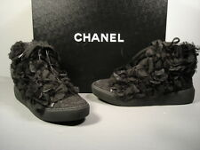 CHANEL Black Camellia Lace Up High Top Sneakers Running Shoes 36.5/6 New $2611